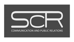 Logo SCR Communication and Public Relations, black & white