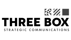 Logo Three Box Strategic Communications, black & white