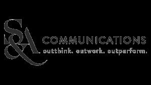 Logo S&A Communications, black & white